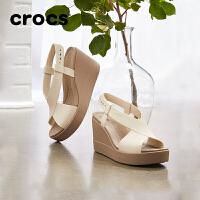 Crocs卡骆驰女鞋 2021春季新款布鲁克林女士夏季坡跟凉鞋 206222 布鲁克林女士坡跟凉鞋