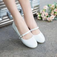儿童鞋船鞋公主鞋女童单鞋大童小女孩演出鞋软底白色皮鞋