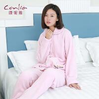 康妮雅睡衣 女士秋冬款珊瑚绒加厚可爱甜美公主翻领长袖家居服套装