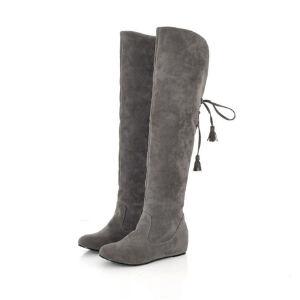 ELEISE美国艾蕾莎新品秋冬178-C86韩版磨砂绒面内增高女士过膝长靴雪地靴