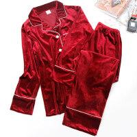两件套装韩版可外穿家居服金丝绒长袖宽松休闲睡衣分体