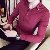 新款白衬衫男长袖 韩版潮流学生纯白衬衣 青少年修身型帅气衫衣小