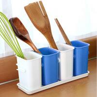 普润 厨房沥水四格餐具整理盒/多用收纳桶--蓝色