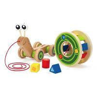 Hape蜗牛拖拉车1-6岁宝宝走路二合一玩法玩具积木拖拉学步婴幼玩具木制E0349