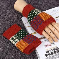 男款保暖加厚秋冬天可爱毛线半指针织男士无指手套露指