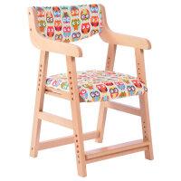 20190711133136054学习椅子学生椅写字椅家用靠背椅实木可升降椅电脑椅 五彩猫头鹰/棉麻 MK-X1