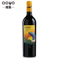 aoyo傲鱼智利原装进口红酒飞跃蓝海马尔贝克干红葡萄酒750ML*1