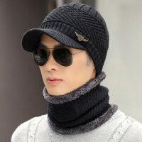 韩版男士时尚鸭舌帽青年毛线帽帽子男加绒加厚针织保暖围脖