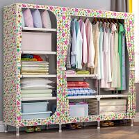 蜗家简易衣柜布艺布衣柜钢架加粗加固简约现代经济型组装衣橱收纳柜2509D