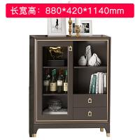 美式轻奢实木双门酒柜后现代简约小型客厅家用储物收纳柜电视边柜 双门酒柜0.88米 双门