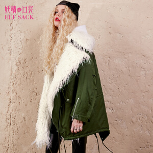 妖精的口袋米勒中尉冬装新宽松羊羔毛领翻领中长款棉服女