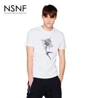 NSNF手绘花卉印花纯棉圆领白色T恤男 短袖t恤男装2017新款 修身圆领针织短袖