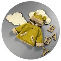 秋冬儿童加绒卫衣拉链0-1岁百天宝宝绒衫3-6个月新生儿上衣加厚潮