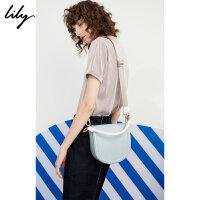 Lily2018夏新款女装OL时髦复古手提斜跨拼色马鞍包118210BZ428