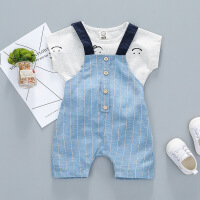 婴儿背带裤套装2018新款男童短袖夏装两件套宝宝衣服3婴幼儿0-1岁