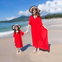 儿童海边度假沙滩裙女童短袖雪纺红色连衣裙亲子装母女装夏装长裙