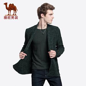 骆驼男装 2018秋冬新款青年时尚纯色翻领提花韩版休闲毛衣外套男