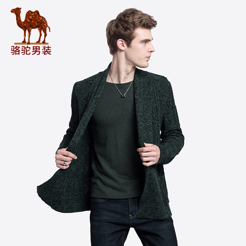 骆驼男装 秋冬新款青年时尚纯色翻领提花韩版休闲毛衣外套男