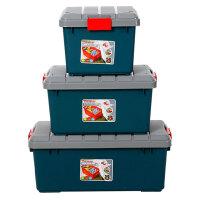 圣强 汽车收纳箱 后备箱整理箱储物箱 工具箱 置物箱塑料62*37*34cm(大号)绿色