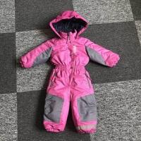 儿童滑雪服男女宝宝加厚哈衣冲锋衣连体爬服防风防水衣裤套装新品