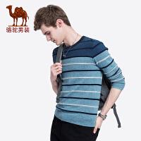 骆驼男装 秋季新款青年时尚圆领套头撞色提花修身韩版毛衫男