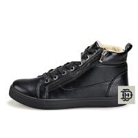 男英伦青年皮鞋加绒保暖棉鞋冬天防滑雪地靴冬季男棉鞋软牛皮高帮滑板鞋