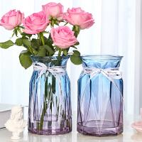 【花瓶2个】玻璃花瓶彩色欧式客厅创意摆件插花玫瑰 水培透明家用