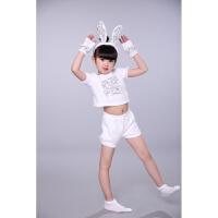 六一儿童节动物表演服小白兔演出服幼儿小兔子表演服小兔子演出服 白色 小兔子全套