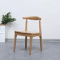 北欧牛角椅实木餐椅欧式餐厅椅子休闲现代简约靠背椅家用书桌椅凳