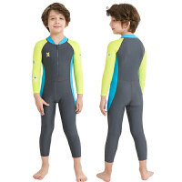 儿童防晒泳衣女孩男童连体速干中大童小孩女童长袖长裤浮潜游泳衣