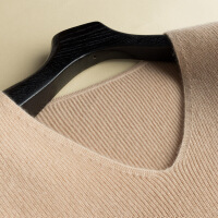 中长款山羊绒衫女V领套头毛衣裙修身包臀针织打底裙