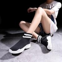 韩版ulzzang潮百搭袜鞋高帮运动鞋女鞋新款飞织袜子鞋女