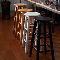 实木吧台椅酒吧高脚凳复古吧椅家用圆凳子黑白简约高椅前台椅摄影