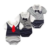 婴儿连体衣服薄款包屁衣宝宝内衣新生儿季0岁8个月短袖三角