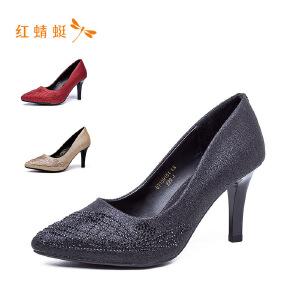 红蜻蜓女鞋磨砂时尚亮面细高跟女单鞋