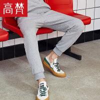 高梵男士休闲卫裤2018秋季新款束脚纯色裤子小脚修身黑色长裤潮