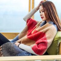韩版披肩两用双面百搭流苏仿羊绒保暖女毛线加厚长款围巾