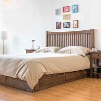 日式1.5米1.8米单双人床北欧简约橡木床实木高箱抽屉储物床