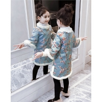 冬装韩版小女孩民族风碎花裙子儿童棉衣潮女童连衣裙