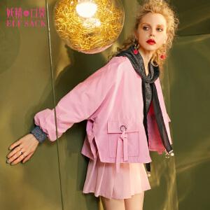 妖精的口袋不懂乖巧秋装新款宽松甜美系带f风休闲短外套女