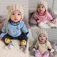 婴儿衣服0岁3个月6男女宝宝套头毛衣针织衫新生儿秋冬装