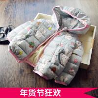 自留~女童棉衣 加绒加厚 儿童韩版连帽2017冬季新款加棉外套