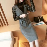 秋冬新款女装修身显瘦中长款蕾丝两件套口袋毛衣裙针织衫打底衫