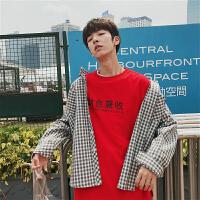 夏季潮流T恤男士短袖日系个性印花上衣青年宽松水洗圆领体恤