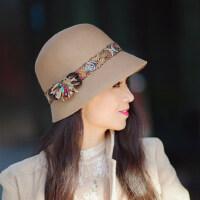 帽子女羊毛盆帽 圆顶英伦名媛小礼帽韩版潮盆帽渔夫帽
