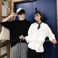 情侣装夏装2018新款韩版抽绳上衣 潮流短袖T恤男女学生班服