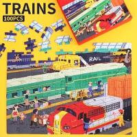 Endu恩都儿童拼图男孩火车100片拼图拼板 轨道机车列车益智早教玩具