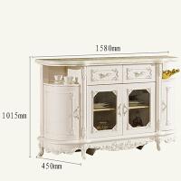 欧式酒柜靠墙餐厅柜子餐桌窄柜储物柜餐边柜薄简欧大理石台面 四门