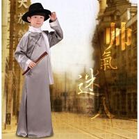 五四青年服装民族相声演出服男童大褂六一儿童长袍表演服中式长衫 灰色 哑光