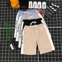 夏季休闲短裤男港风字母绣花青少年学生宽松直筒弹力运动中裤